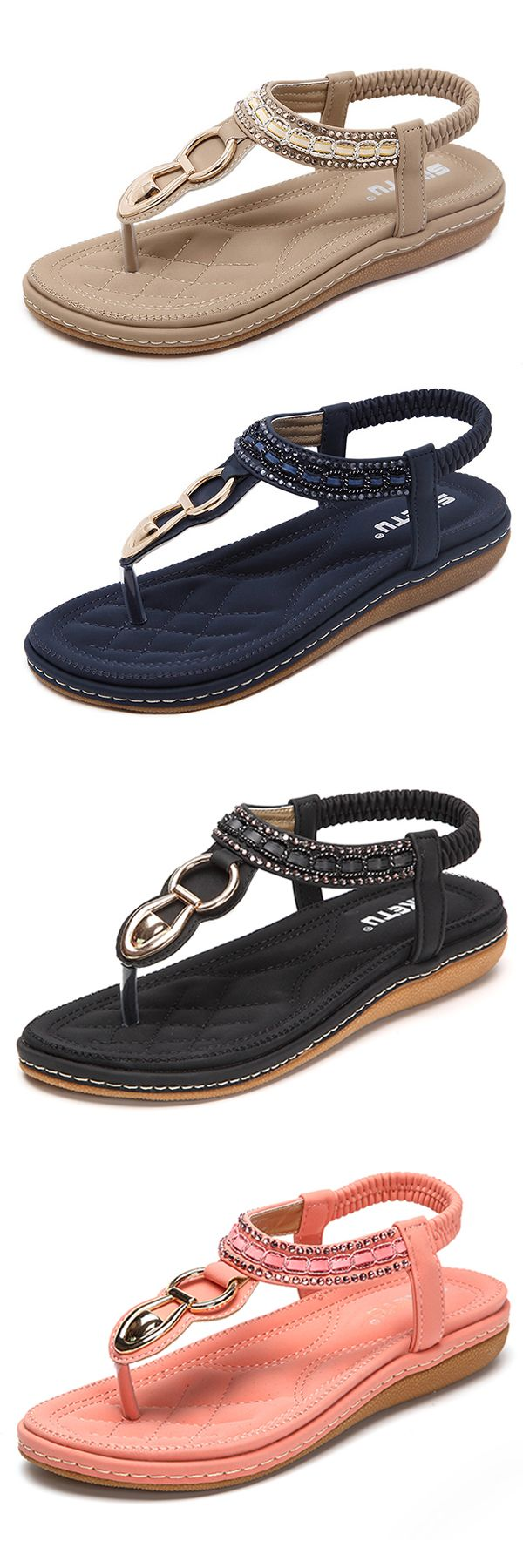 US$21.14  SOCOFY Metal Beaded Bohemia Clip Toe Elastic Flat Sandals