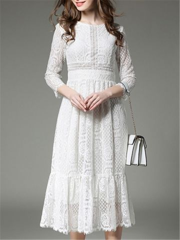 Buy Women's Dress Solid Color Hollow Out Sweet Lace Dress & Women's Dresses - at Jollychic