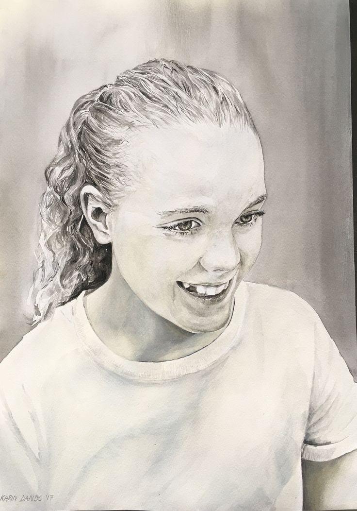 Portrait of Rachel watercolour on Fabriano 2017 Karin Dando