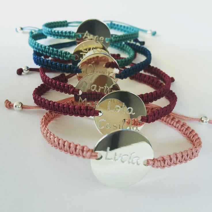 Engraved silver and macrame bracelets