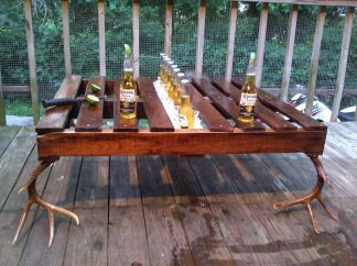 Fathers Day Gift, Pallet Table, Wedding, Ice Chest, Corona, Antlers, Deer Antlers