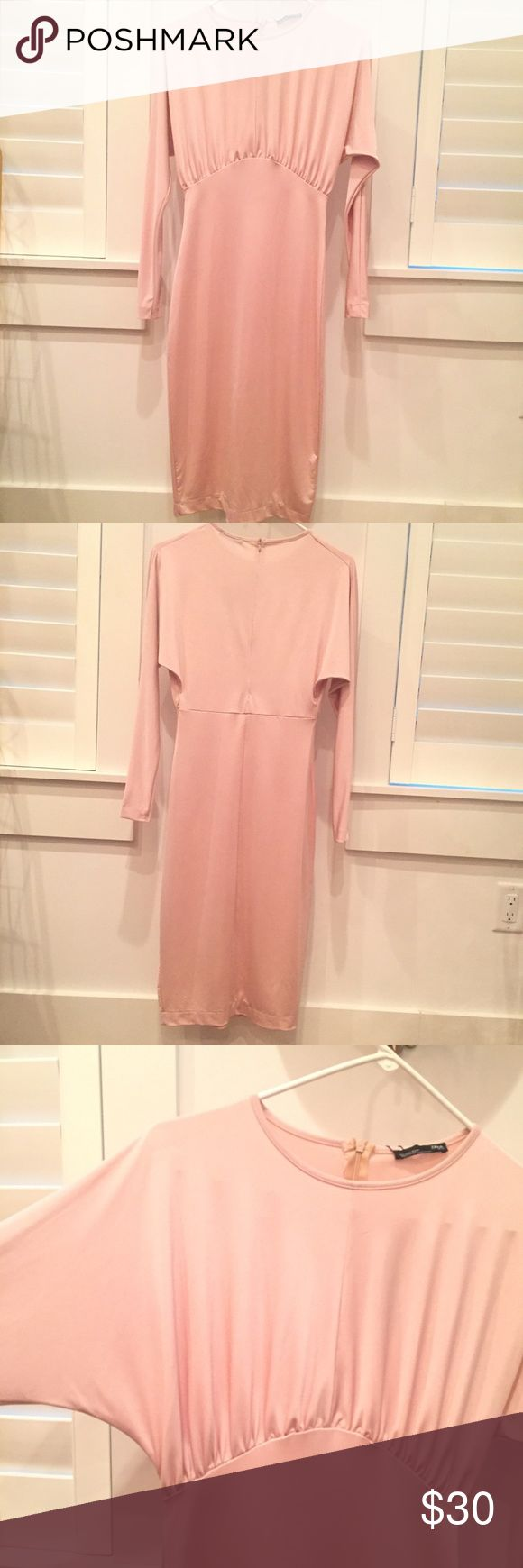 Zara Nude Cocktail Dress Long Sleeve Elegant cocktail dress.  Beautiful sheen and very chic. The color states nude on website but has a light pink undertone.  Falls just below the knee.  Perfect condition; never been worn with tag still on it. Zara Dresses Long Sleeve