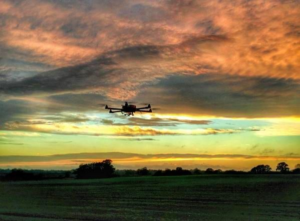 Hexacopter at sunset at the end of a very successful training day.