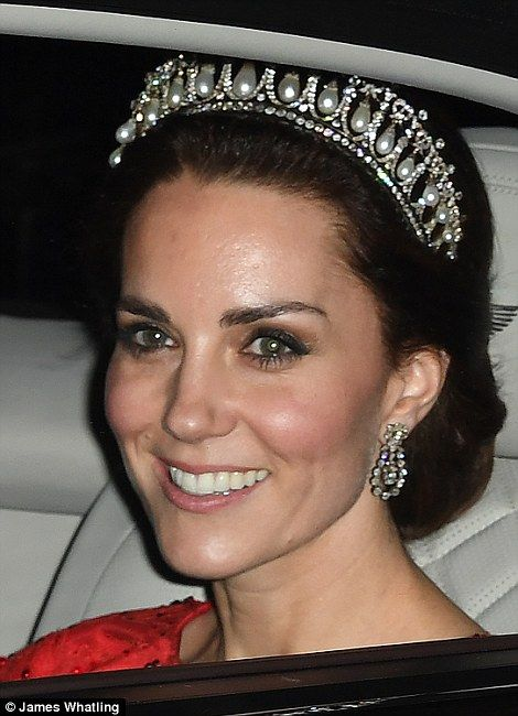 The Duchess of Cambridge looked stunning in the Cambridge Lover's Knot tiara - so beloved by William's late mother, Diana, Princess of Wales