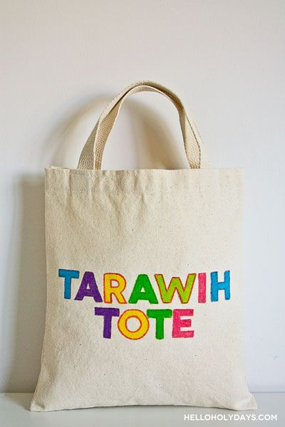 Ramadan Ideas: Fabric Markers Tote Bag - Hello Holy Days! #ramadan
