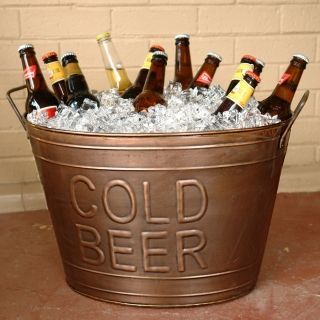 galvanized buckets will be filled with bottled beer and bottled water at the beverage station
