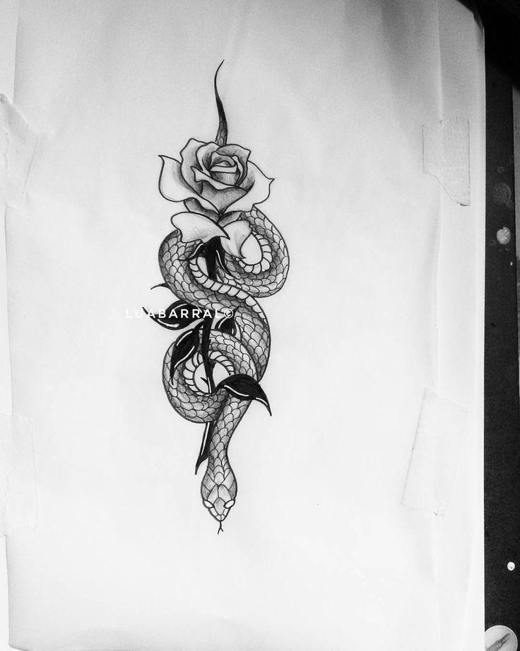 Forasteiro Tattoo Tattoo Serpente: Cobra Serpente Rosa Flor Tatuagem Tattoo