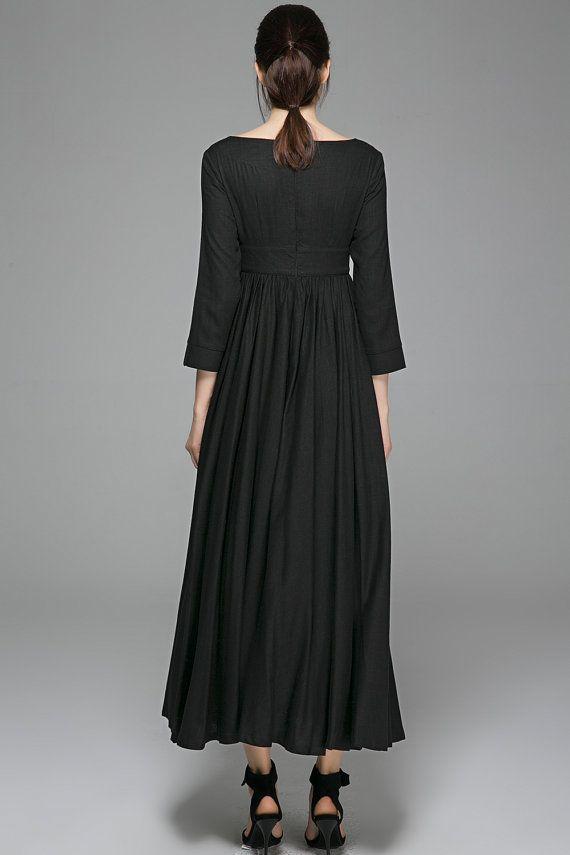 Linen dresses for womenBlack dress Maxi dressLinen Dress