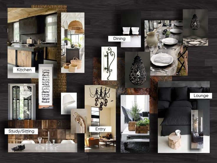 Module 9 Assignment Study, Kitchen, Dining, Lounge, Entry #moodboard #interior
