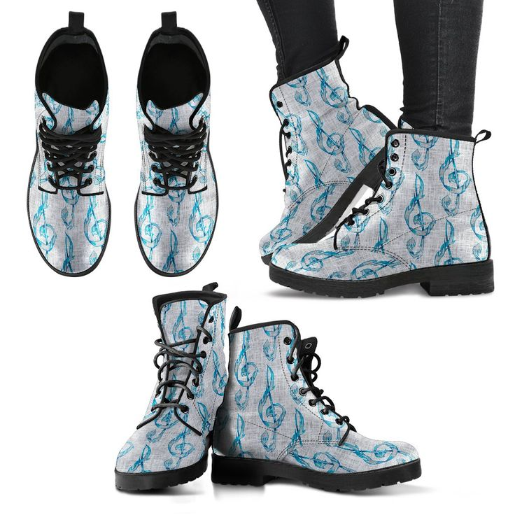 Now selling: Treble Clef Shoes. Womens Leather Boots http://oompah.shop/products/treble-cleg-gray-and-blue-shoes-womens-leather-boots