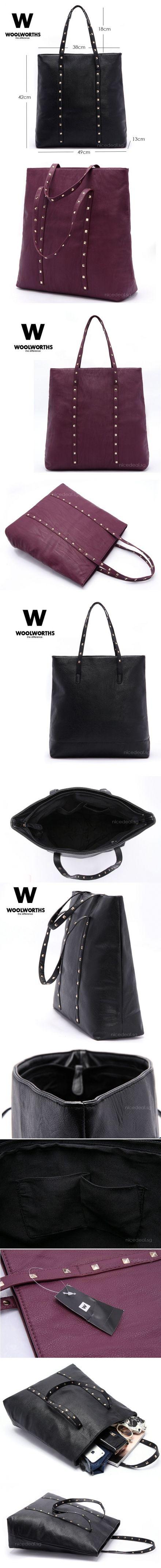 $15.90 for Austrialia Woolworths Studded Tote Shoulder Bag Handbag (BN0010 Purple); Limited Stocks Offer! | Singapore Group Buying - NiceDea...