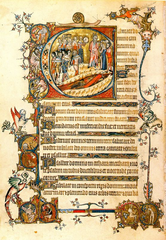 Folio 85v of the Vienna Bohun Psalter, Moses speaking to the Israelites after crossing the Red Sea
