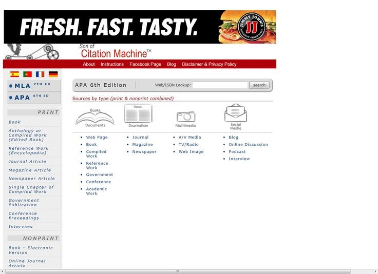 apa citation machine for website
