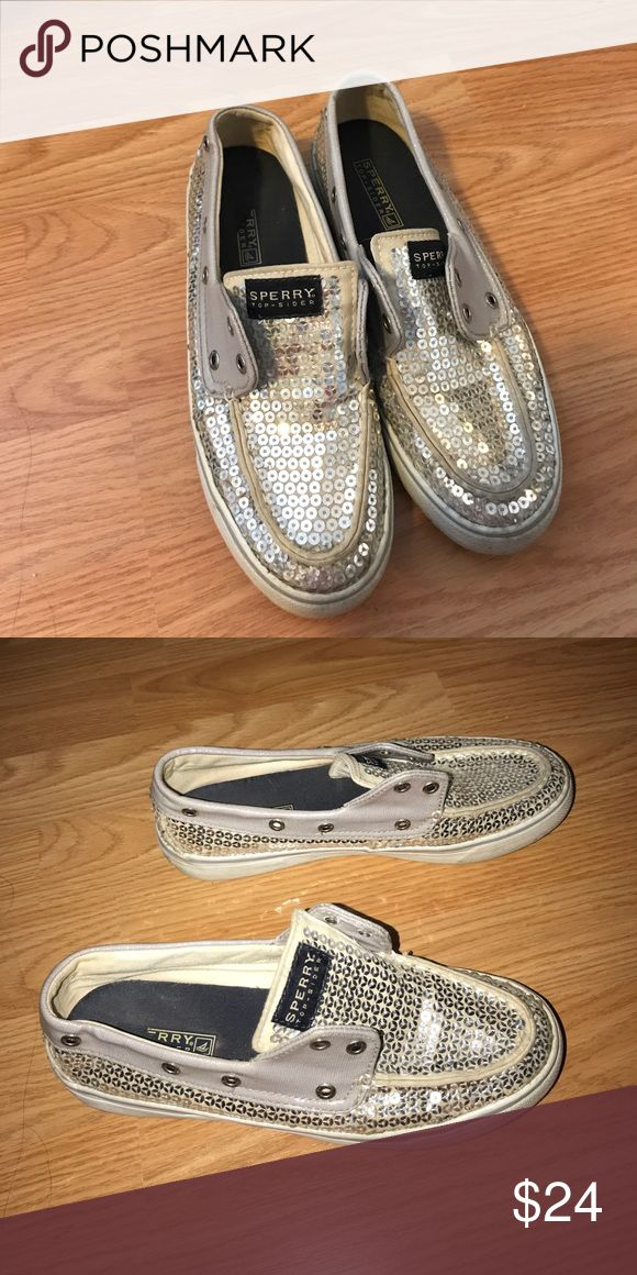 Silver Sequin Sperrys Good condition silver sequin Sperrys. The laces were removed for cleaning and we were unable to get them back in. You can buy new laces and a kit online for cheap- just never got around to it! Sperry Top-Sider Shoes Flats & Loafers