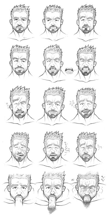 A fuck-face expression guide by Orge Navarro! This is the seventh entry for the Homoerotic Fuck-Face Facial Expression Guide Challenge!I challenge illustrators, cartoonists and artists of the internet to make fuck-face guide with a character of their choice! It could be an original character or a comic book or comic strip character; entries that have multiple fuck face expressions in a facial expression guide format like the one above will qualify for inclusion in the challenge. :) You ...