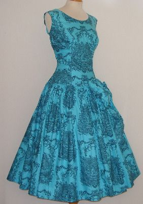 STUNNING Vintage 1950s Novelty Toile de Juoy Print Crisp Cotton Cocktail Dress