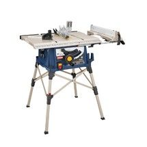 Check out this RYOBI product -             The RYOBI 10 inch Portable Table Saw with QuickSTAND is the top unit of its kind. This tool is perfect for the cost-conscious pro and comes fully loaded with the latest and greatest table saw applications and guarding standards. Whether you are framing a door or building a deck, the Ryobi 10 inch Portable Table Saw is the light-weight, easy to use unit that every homeowner should have in their garage.