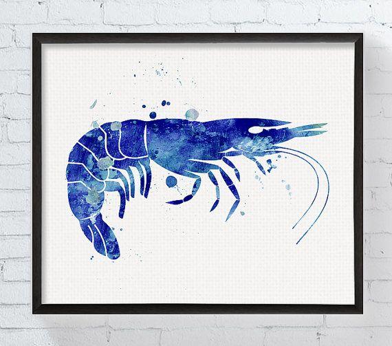 Garnalen Art garnalen afdrukken aquarel garnalen door MiaoMiaoDesign