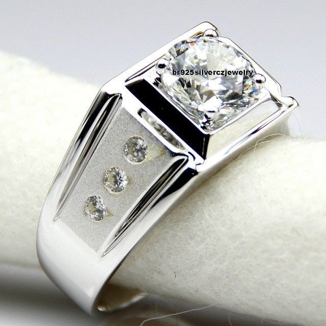 14k White Gold Over Diamond Wedding Engagement Men's Pinky Ring In Round 1.50 Ct #br925silverczjewelry #MensWeddingRing #EngagementWeddingAnniversaryDailyWearParty