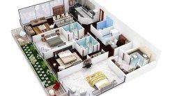 20 Planos de departamentos de 3 habitaciones, modernos diseños en 3D