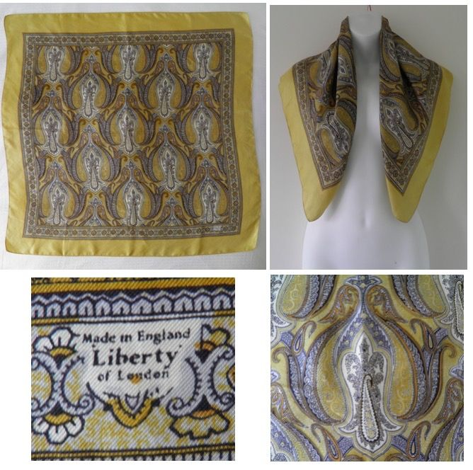 1950's Vintage LIBERTY OF LONDON Yellow Paisley Print Large Square Silk Neck Head Scarf  12.50