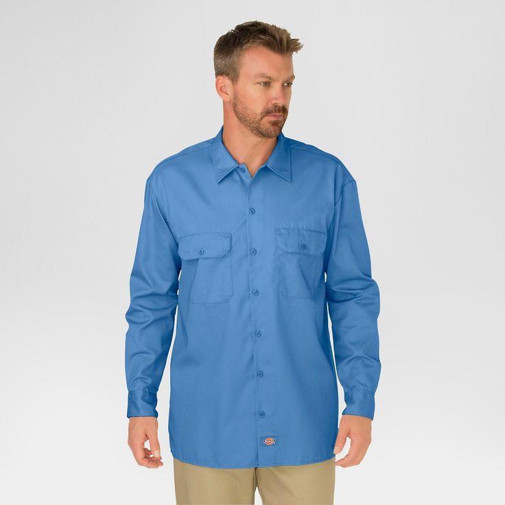 Dickies Men's Big & Tall Original Fit Long Sleeve Twill Work Shirt- Gulf Blue Xxl Tall