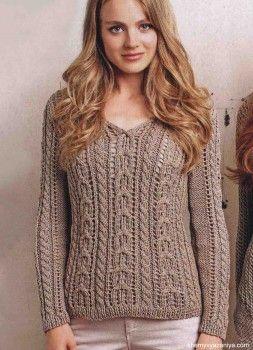 Бежевый пуловер с ажурным косами