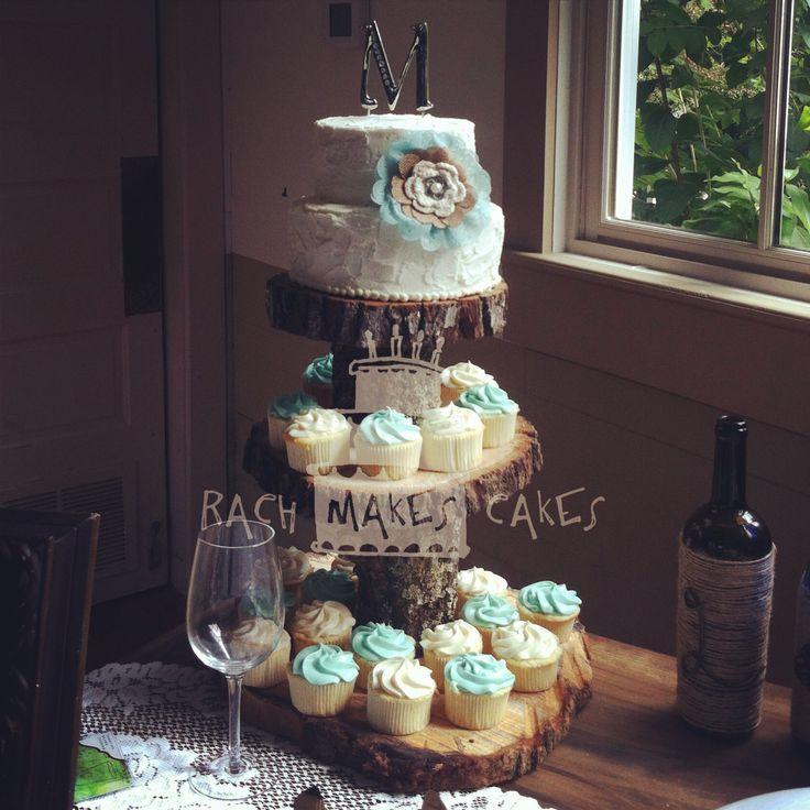 Burlap & Teal Wedding Cake and Cupcakes