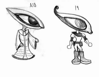 Character concept for alien used in a screensaver.