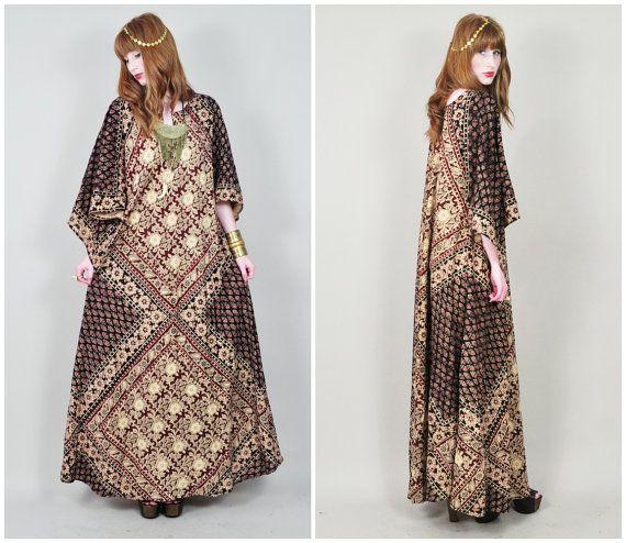 VINTAGE 60s 70s batik dashiki ethnic print HUGE by LushLoveLita, $150.00