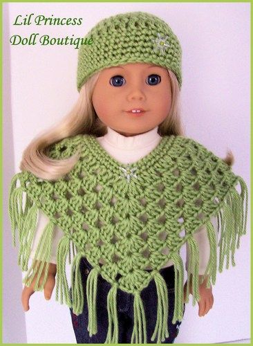 "Doll Clothes Fit 18"" American Girl Doll, Crochet Poncho Set- PISTACHIO | lilprincessdollboutique - Toys on ArtFire"