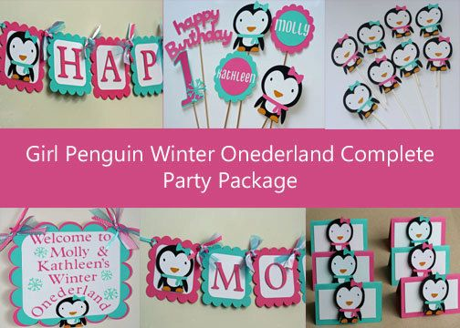 Girl+Winter+Onederland+Penguin+Complete+Birthday+by+AngiesDesignz,+$105.00