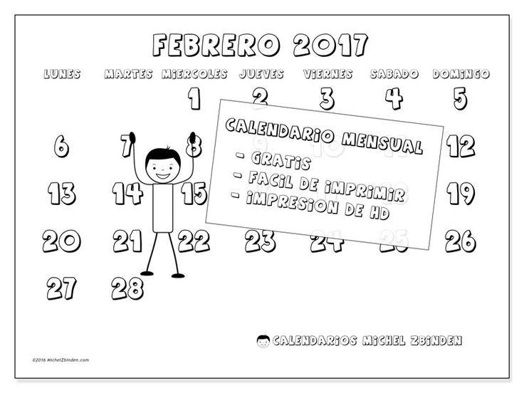 """Calendario """"Adrianus (L)"""" febrero 2017 para imprimir"""