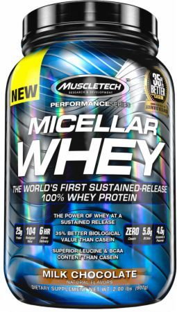 MuscleTech Micellar Whey Milk Chocolate 2 Lbs. MT3360148 Milk Chocolate - The World's First Sustained-Release 100% Whey Protein*