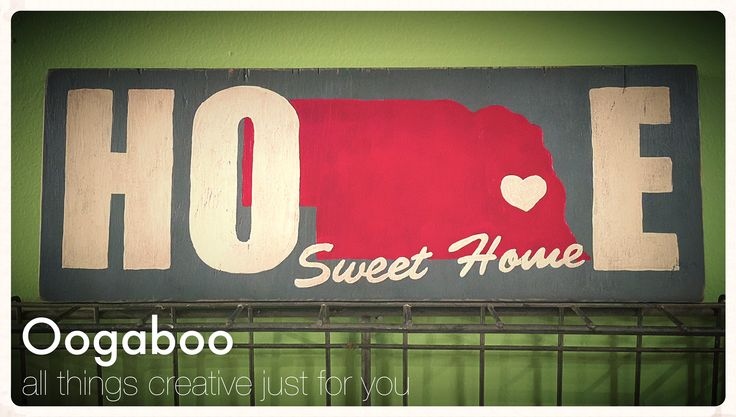 """Home Sweet Home $25 This hand painted one of a kind Nebraska sign measures 5.5"""" by 16"""" and would make the perfect addition to any room in your home or office! Pick up in NW Omaha Xposted. To see more of my vintage and one of a kind items check out www.facebook.com/Oogaboo4u"""