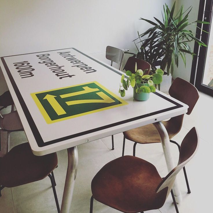 Industrial Kitchen table inspired on traffic signs by Fabrik Belgique #fabrikbelgique #industrial