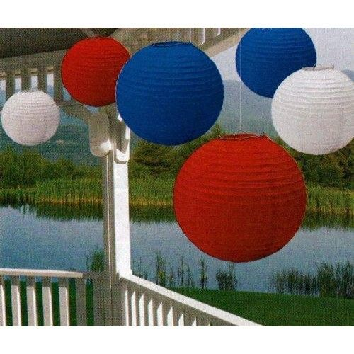 Amscan Fourth of July Party Round Lantern Hanging Decoration (6 Piece), Red/White/Blue, 15 x 13.8  Our Value Pack Paper Lanterns instantly add patriotic color to any 4th of July party. Value pack includes 6 equally assorted round lanterns, featuring vivid red, white and blue hues.