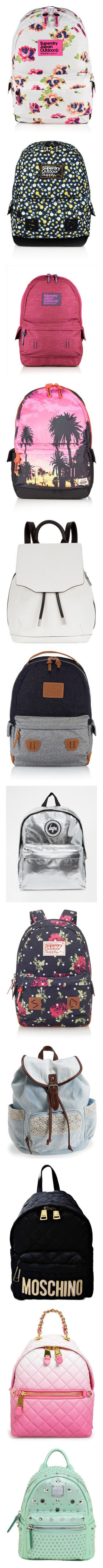 """""""Cute school bag"""" by mimmykitty327 ❤ liked on Polyvore featuring bags, backpacks, white, superdry, knapsack bags, superdry bag, superdry backpack, white bags, navy and floral bag"""