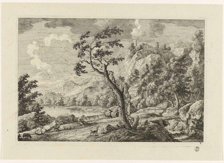 Monogrammist MEG | Landschap met huizen op een berg, Monogrammist MEG, c. 1700 | Rechtsonder genummerd 2.