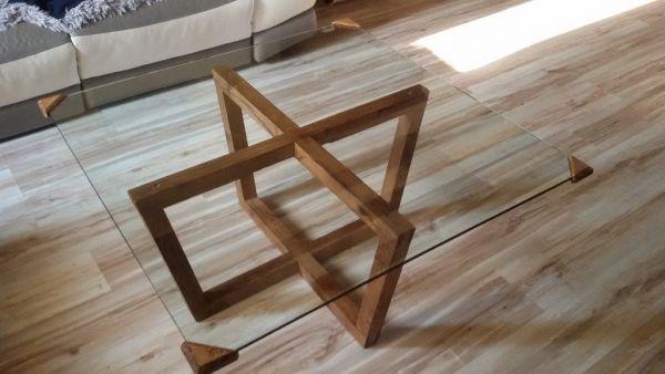 Table basse chene et verre par step sur L'Air du Bois