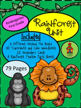 Mini Rainforest Book with three versions:* Book with text and colored pictures* Book with traceable text and pictures to color* Book with blank text lines and pictures to colorAlso Included:*30 Trace/Write and Color Worksheets*10 Rainforest Vocabulary Cards *8 Rainforest Teacher Info/Facts Sheets