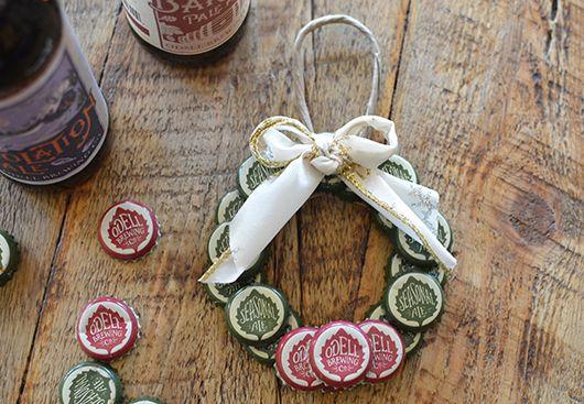 Bottle Cap Wreath Ornament Tutorial