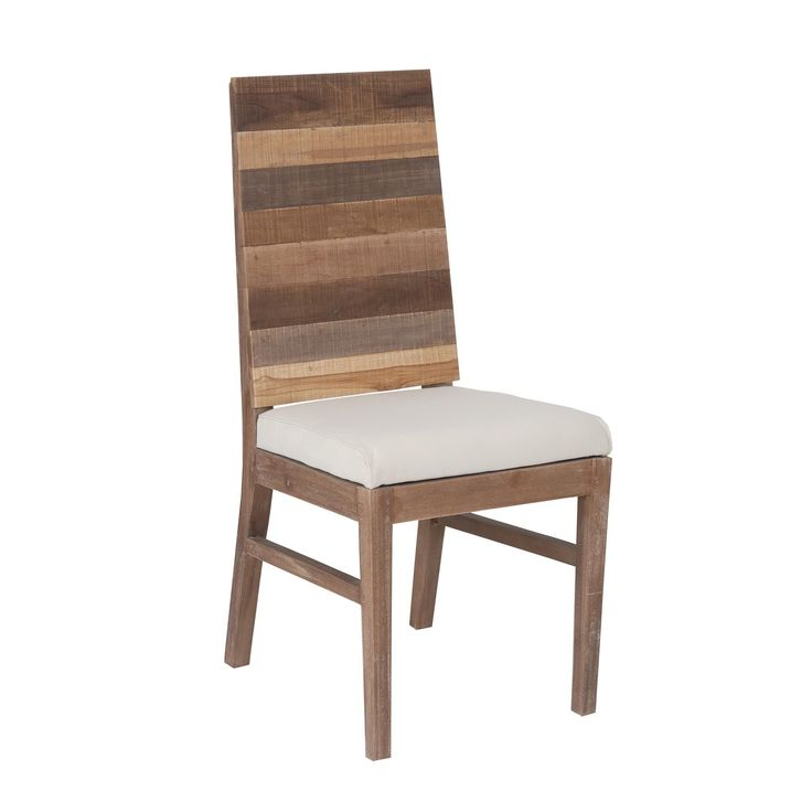 This rustic dining chair is made out of recycled teakwood, giving it a natural, distressed finish. The wood has different accent colors, creating a striped effect on the back.