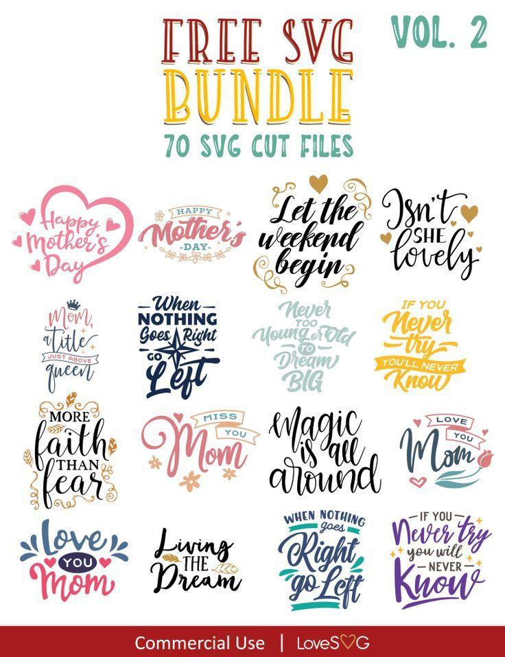 FREE SVG Bundle Vol. 2 Motivational svg, Cricut free, Cricut
