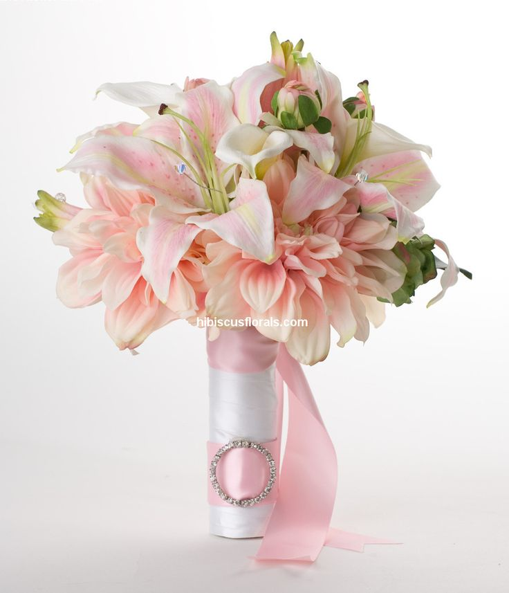 lily flower wedding bouquets dahlias pink lilies amp white calla lilies real touch 5548
