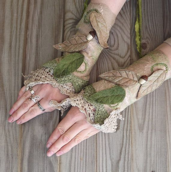 Vintage Lace Fairy Cuffs  Nuno Felted Cuffs  Fairy by folkowl