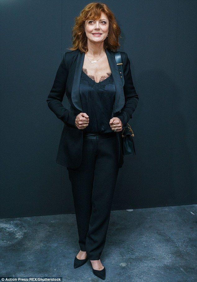 Age-defying: Susan Sarandon, 70, power dressed in a suit as she made a striking appearance...