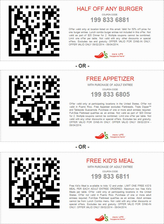 Pinned September 2nd: 50% off a burger, free appetizer or kids meal at Chilis #coupon via The #Coupons App