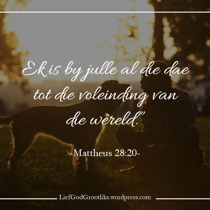 Lief God Grootliks Lief God Grootliks SOAP - Matthew 28:20Jesus se Groot Opdrag gegee aan die dissipels en vandaar aan alle gelowiges in Hom is om dissipels van almal te maak wat ons teëkom. Gelowiges is beveel om te gaan en dissipels te maak. Gaan ... nie om te wag totdat die verlore na ons toe kom nie. Gaan ... nie om te oordeel of hulle dit waardig is of nie. Gaan ... nie om hulle te laat om ons bereidwilligheid te verdien nie. Maak dissipels ... nie net meer lidmate nie. Maak dissipels…