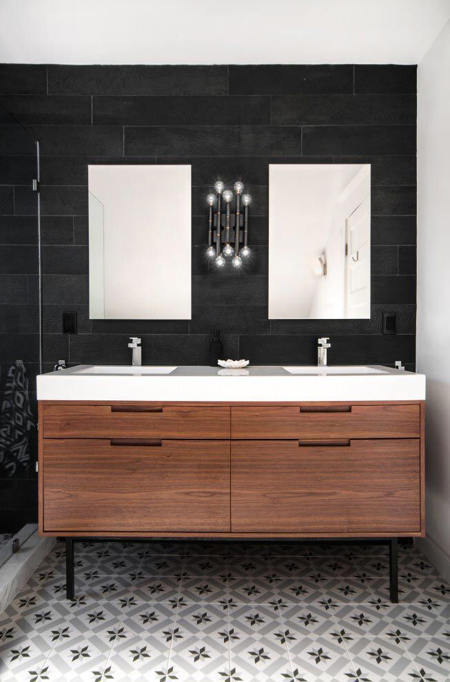 Bathroom concept; wall tile, floor tile, floating cabinet and split mirrors